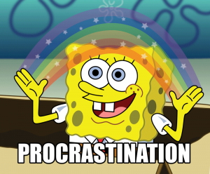 spongebob procrastinating